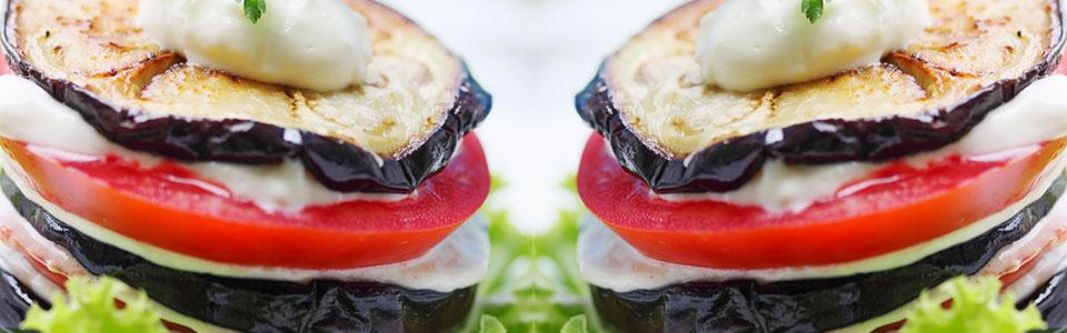 Ensalada de Berenjena, jitomate y mozzarella