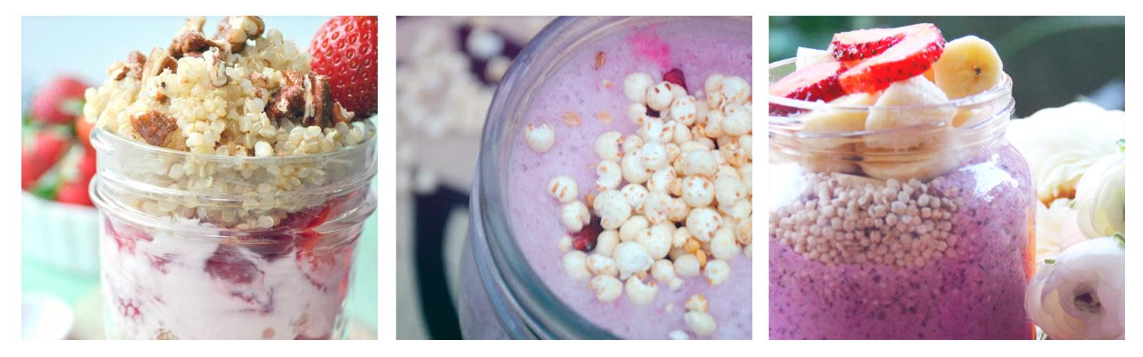 Yogurt de fresas con quinoa, moras azules y plátano