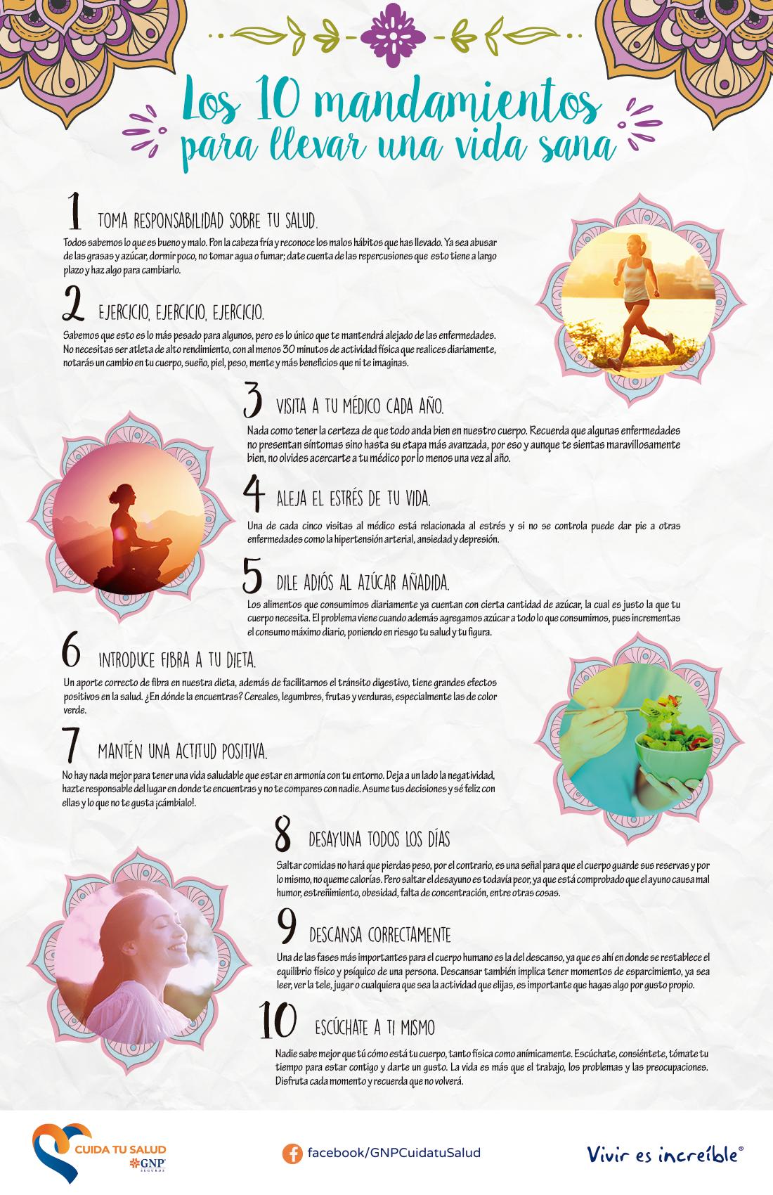 10 mandamientos para llevar una vida sana