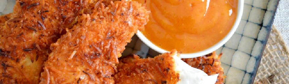 Pollo al coco con salsa de mango