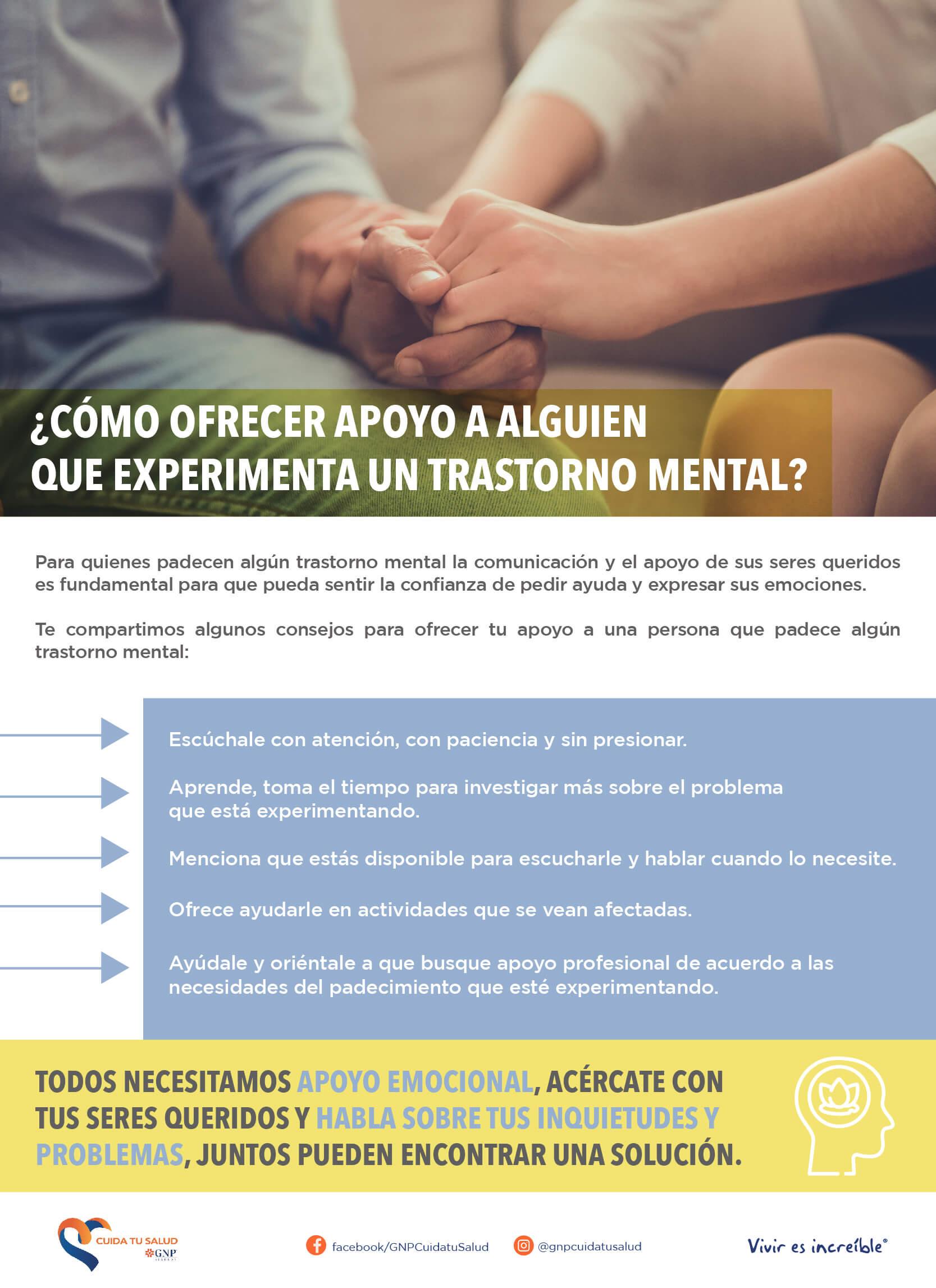 Ofrecer apoyo a alguien que experimenta un trastorno mental
